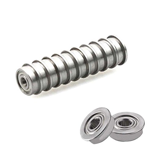 Majome 10Pcs Micro Stainless Steel Bearing F623ZZ Flange Ball Bearings with Edge for 3D Printer 1qr3ed5ah5ve0ch1