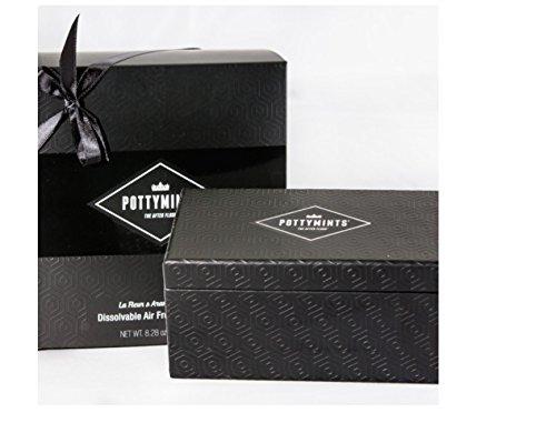 PottyMints Travel Bathroom Toilet Odor Eliminator Air Freshener Tablet Gift Box Set Black