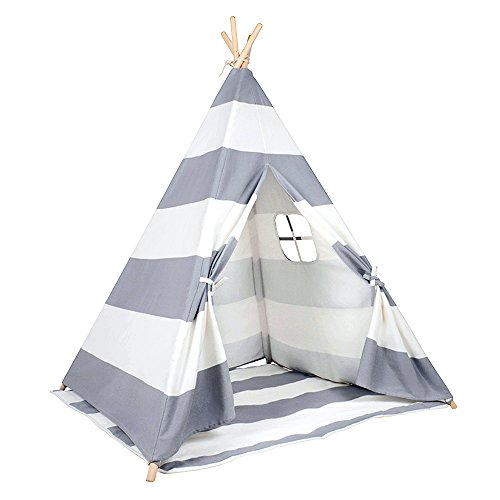 Kids Teepee Play Tent - 5' Feet Tall Large Nursery Children Tent Playhouse by Wonder Space, Comes with Detachable Floor Mat, Handcrafted Toy for Babies & Toddlers Nursery (Grey Stripes)