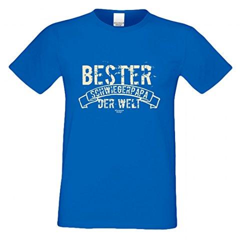 T-Shirt als Geschenk für den Vater - Bester Schwiegerpapa der Welt - Ein Danke für den Papa mit Humor zum Vatertag oder einfach so, Größe L Farbe 06-Royalblau