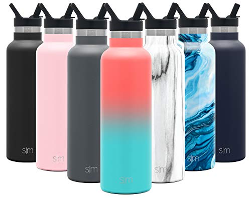 Simple Modern 20oz Ascent Water Bottle with Straw Lid - Stainless Steel Hydro Tumbler Flask - Double Wall Vacuum Insulated Small Reusable Metal Leakproof Ombre: Havana