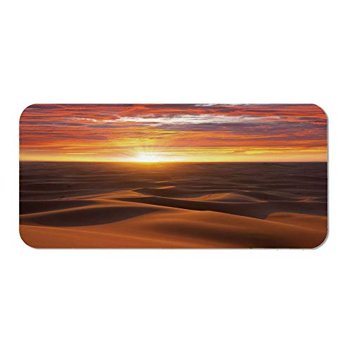 Desert Ordinary Mouse Pad,Dramatic Sunset Scenery at Sahara Dunes Arid Landscape Morrocco Summer Nature for Computers Laptop Office & Home,15.75''Wx23.62''Lx0.08''H