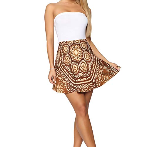 Women's Short Skirt,Mehndi Style Floral Flower with Abstract Paisley Backdrop Art Print XL