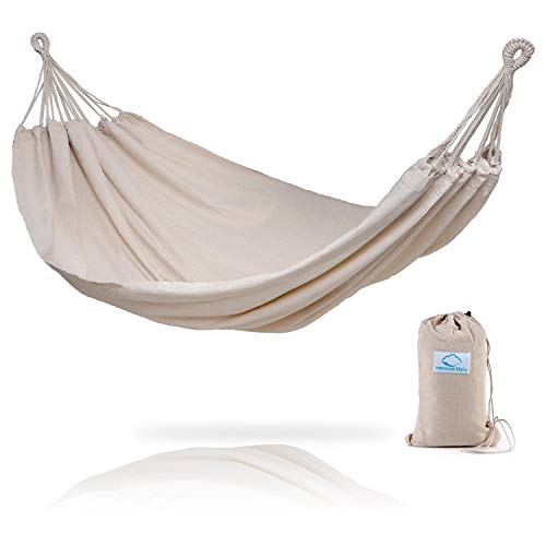 Hammock Sky Brazilian Double Hammock - Two Person Bed for Backyard, Porch, Outdoor and Indoor Use - Soft Woven Cotton Fabric for Supreme Comfort (Natural) (Winters Fringe Bag)