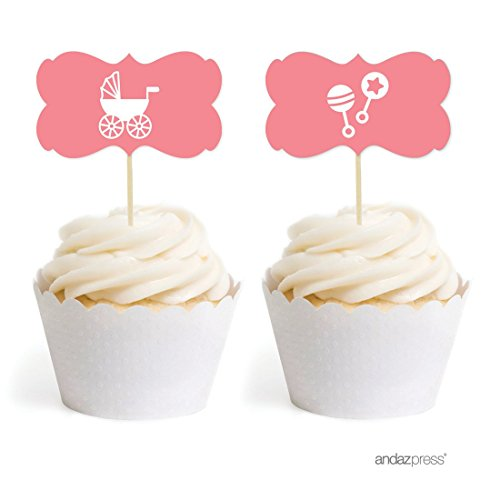 Baby Rattle Cakes - Andaz Press Baby Shower Cupcake Toppers DIY Party Favors Kit, Girl Baby Shower Coral Rattles Carriage, Double-Sided, 18-Pack