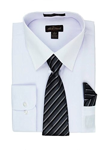 (Alberto Danelli Men's Long Sleeve Dress Shirt with Matching Tie and Handkerchie Set White/Black, XXX-Large / 19-19.5