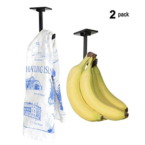 Banana Hanger (2 Pack) - Under Cabinet Hook for Bananas or Lightweight Kitchen Items. Folds-up When Not in Use. Self-adhesive and Pre-drilled Holes (Screws Provided) Keep Bananas Fresh. (Black) ()