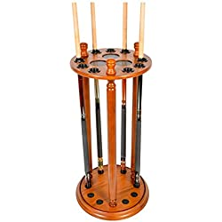 Cue Rack Only - Revolving 9 Pool - Billiard Stick Floor - Stand Choose Mahogany, Black or Oak Finish (Oak)
