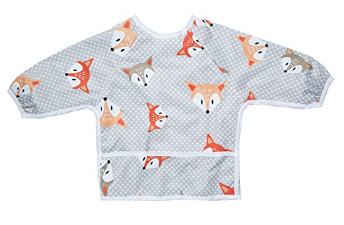 Pikababy Long Sleeved Bib Waterproof Bibs with Pocket - 6 to 24 Months Baby Girl and boy Colors (Fox)