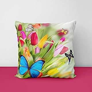 Flower Butterfly Green Cool Natural Square Design Printed Cushion Cover