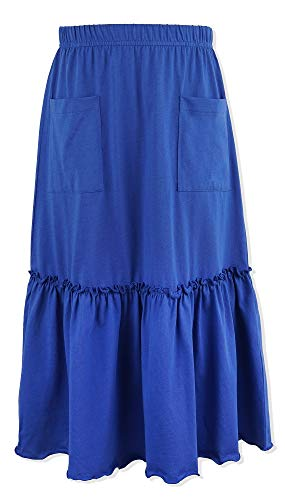 Kid Nation Grils Knit Ruffles Maxi Skirt Elastic Waist A-line Flared Dress 4-12 Years