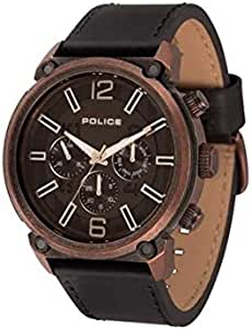 Police Casual Watch for Men - Analog Quartz, Leather Band Black - P-14378JSQBZ-02