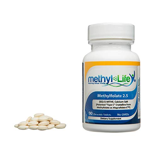 Methyl-Life Pure Pharmaceutical Grade L-Methylfolate (2.5 mg), Professional Strength Active folate (90 chew Tablets)