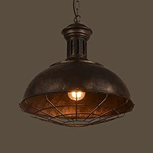 "Neo-Industrial Nautical Barn Cage Pendant Light - LITFAD 16"" Single Pendant Lamp with Rustic Dome/Bowl Shape Mounted Fixture Ceiling Light Chandelier in Copper"