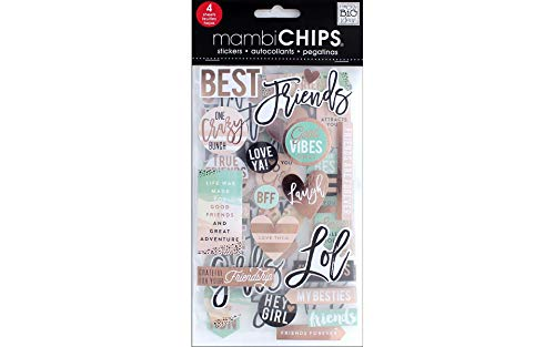 Paper Scrapbook Friends - mambiCHIPS Friends Chip Stickers with Rose Gold Foil Treatment, 4 Sheets