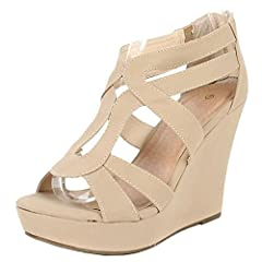 Add chic style to your wardrobe with these fabulous platform wedges! It features open toe front, strappy construction at vamp, stitching details, covered platform, and wedge heel. Finished with lightly padded insole and rear zipper closure fo...