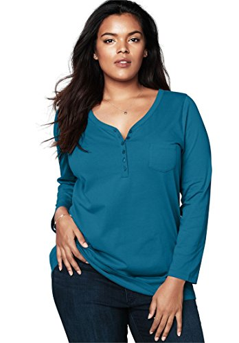 Roamans Ultimate Tee Women's Plus Size Ultimate Henley Pocket Tee With Sweetheart Neck Sweetheart Pocket