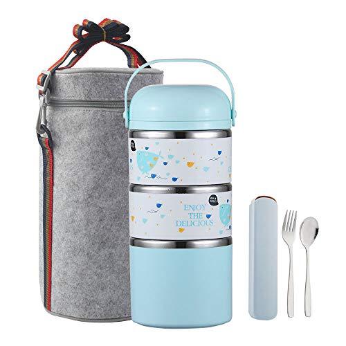 [해외]YBOBK HOME Cute Bento Lunch Box with Flatware Set Stackable Lunch Box Stainless Steel Lunch Box Leak Proof Bento Box Insulated Reusable Meal Prep Container for Kids and Adults (3-Tier Blue) / YBOBK HOME Cute Bento Lunch Box with Fl...