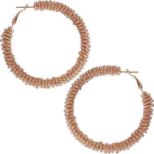 Humble Chic Beaded Hoop Earrings for Women - Statement Loops Big Hoops Bohemian Circle Post Studs Round Drop Dangles, Rose Gold-Tone Hoops, Translucent Metallic Pink]()