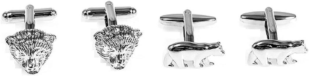 MRCUFF Bear Bears Wall Street 2 Pairs Cufflinks in a Presentation Gift Box /& Polishing Cloth