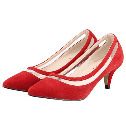 MERUMOTE - Zapatos de tacón fino Mujer Rojo - Rot-Wildleder