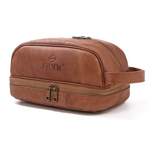 cdf3b7015505 Big Sale - S-ZONE Mens Genuine Leather Toiletry Bag Portable Travel  Organizer Shaving Dopp