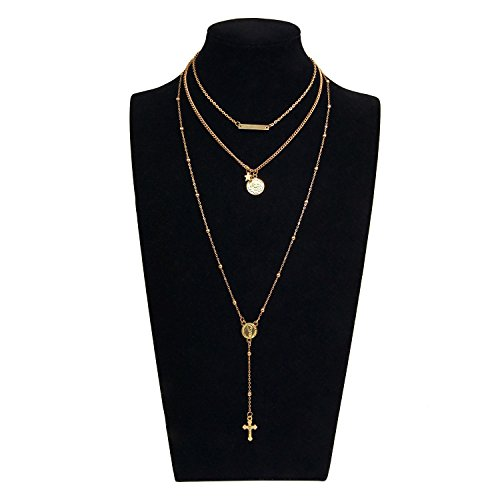 Gleamart Women Multi-layer Sequins Choker Layered Beads Long Sweater Chain Necklace with Cross Pendant Gold