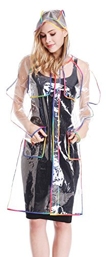 Transparent with Colorful Edge Fashion Raincoat,Adult (Clear Rain Jacket)