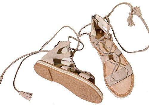 Mujer del Playa Zapatillas Sandalias Gris Gladiador Punta Romana Sandals De Tobillo Zapatos Abierta Correa Peep Stiletto rr6wAqY