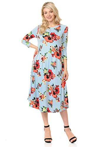 Floral Trapeze Dress - iconic luxe Women's A-Line Swing Trapeze Midi Dress Small Floral Sky Blue