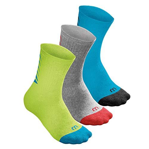 Wilson Youth Seasonal Core Crew Tennis Sock 3 Pack Hawaiian Ocean and Lime Punch (SMALL/MEDI) Core Medium Crew Socks