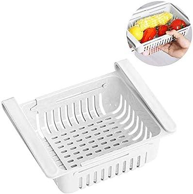 EPRHAY - Caja de almacenamiento retráctil para frigorífico, de plástico, para cocina, frigorífico, estante de almacenamiento para congelador, contenedor de alimentos, cestas de cocina, color blanco: Amazon.es: Hogar
