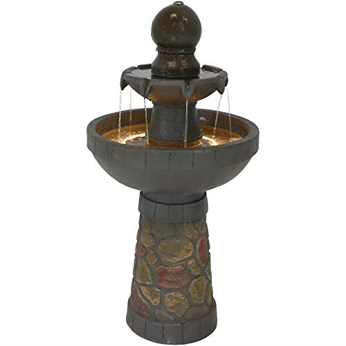 Sunnydaze 2-Tier Outdoor Water Fountain, Cobblestone Design, Includes LED Rope Light, 33-Inch