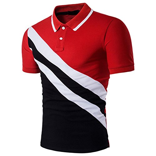 Elogoog Polo Shirt for Men, Fashion Men's Casual Classic Slim Fitted Printed Patchwork Short Sleeve Polo TShirt Top (L, Red)