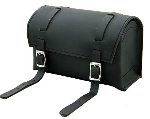 Herte Genuine Leather Bicycle Handlebar Bag Black Real Grain Saddle seatpost Pouch