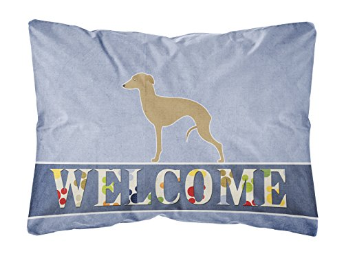 - Caroline's Treasures BB5518PW1216 Italian Greyhound Welcome Canvas Fabric Decorative Pillow, 12
