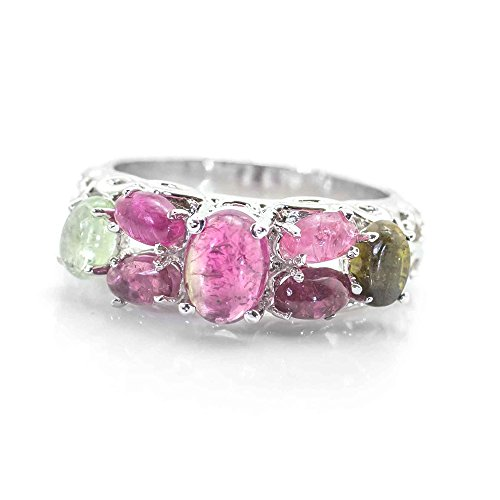 - 925 Sterling Silver Ring with Multicolor Tourmaline Gemstones Size 7