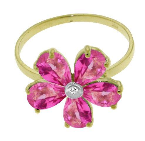 (14k Solid Gold Pink Topaz Flower Ring - Size 6.0)