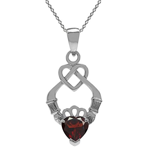 Garnet Claddagh Pendant (Natural Garnet 925 Sterling Silver Celtic Knot Heart Claddagh Pendant w/ 18 Inch Chain Necklace)