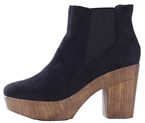 Boots 14 Faux Sole Platform Chunky Style Mid Heel Cleated Chelsea Womens High Black Suede Ladies Block Ankle Size xaq8wt6