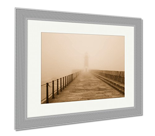 Ashley Framed Prints Old Fighthouse And Pier In The Fog, Wall Art Home Decoration, Sepia, 34x40 (frame size), Silver Frame, (Fog Framed Art)