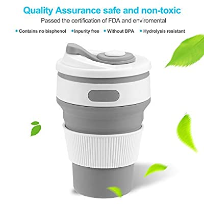 Collapsible Silicone, YeHeng Silicone Collapsible Cup Mug-Leak Proof Coffee Folded Cup with Heat Insulation Coffee-Cup Sleeve Reusable for Outdoor Travel 100% Food Grade BPA Free?Grey?