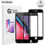 DFSP Compatible IPhone 6S 6 Plus Screen Protector Glass - 2018 Upgraded - 3D Full Coverage Hard Edge to Edge 0.2mm Tempered Glass Film Anti-fingerprint Oleophobic for 5.5 inch (2-Pack)Black