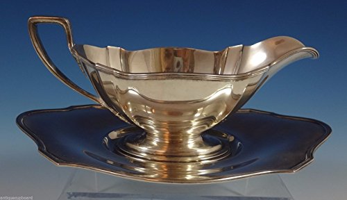 (Plymouth by Gorham Sterling Silver Gravy Boat & Underplate 3 7/8
