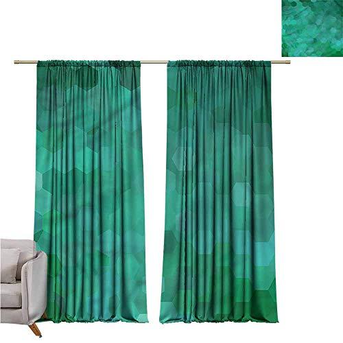 - zojihouse Jade GreenDarkening and Thermal Insulating Window Curtains Hexagonal Mosaic Design W72xL72
