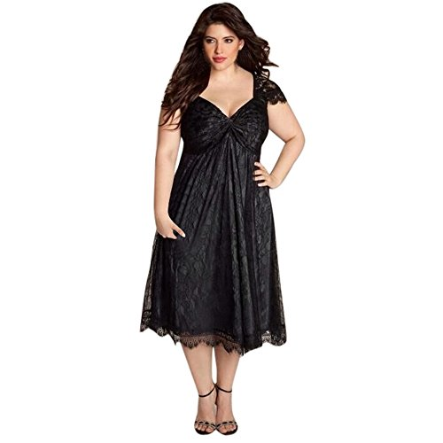 Plus Size Dress,AgrinTol Plus Size Women Sleeveless Lace Long Evening Party Prom Gown Formal Dress (3XL, Black)