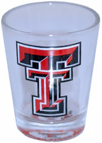 NCAA Texas Tech Red Raiders Shotglass Clear Bullseye (Glass Texas Red Raiders Tech)