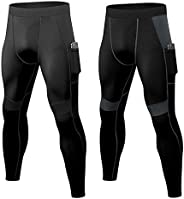 Junyue 2 Packs Mens Compression Leggings Football Pants Workout Tights for Hiking