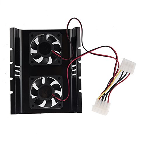 SODIAL(R) New Black 3.5 SATA IDE Hard Disk Drive HDD 2 Fan Cooler for PC by SODIAL (Image #1)