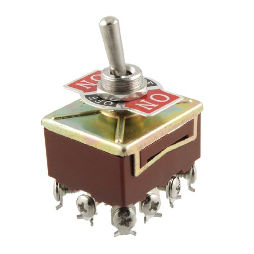 uxcell AC 15A/250V 10A/380V Screw Terminals On/Off/On 4PDT Toggle Switch